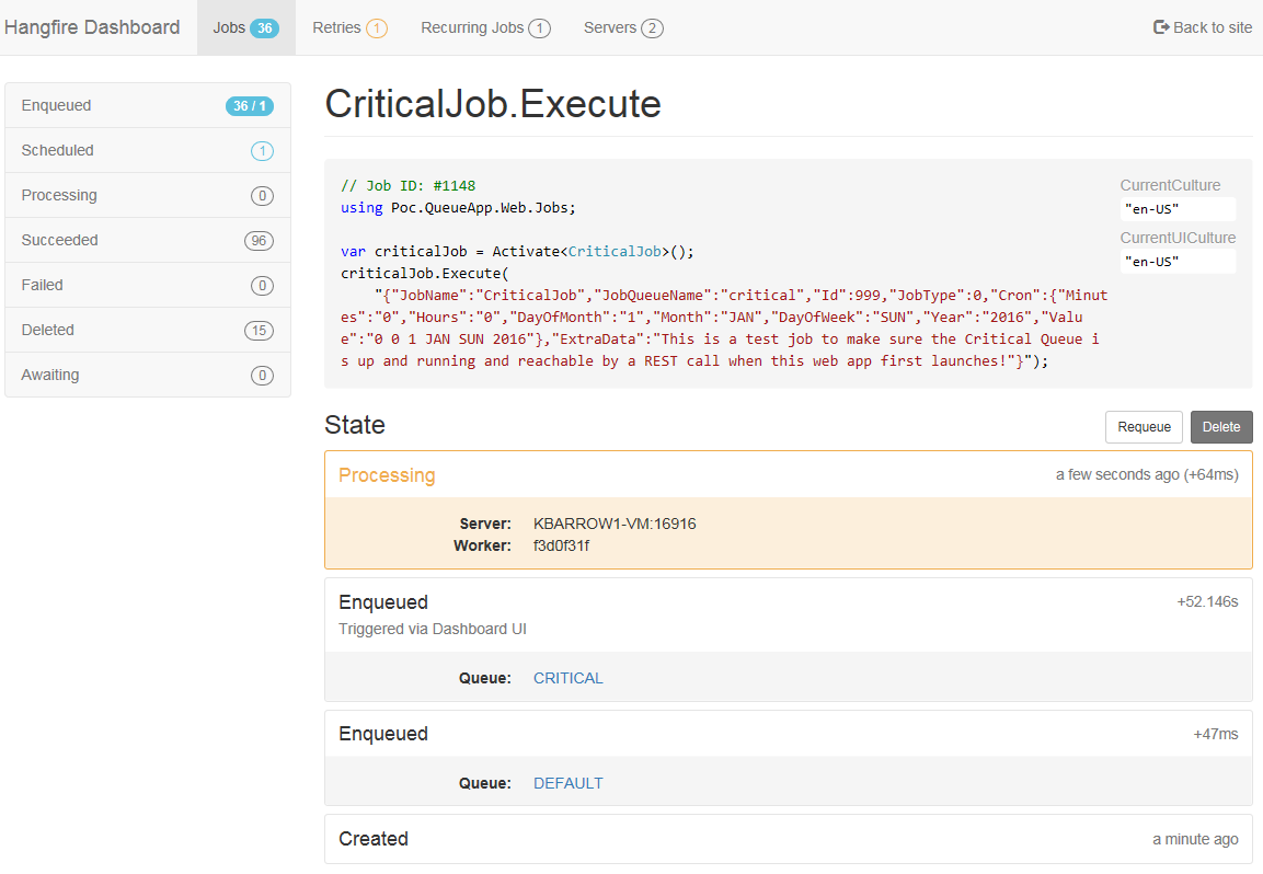 Jobs in Enqueue state, most never run - moved to github